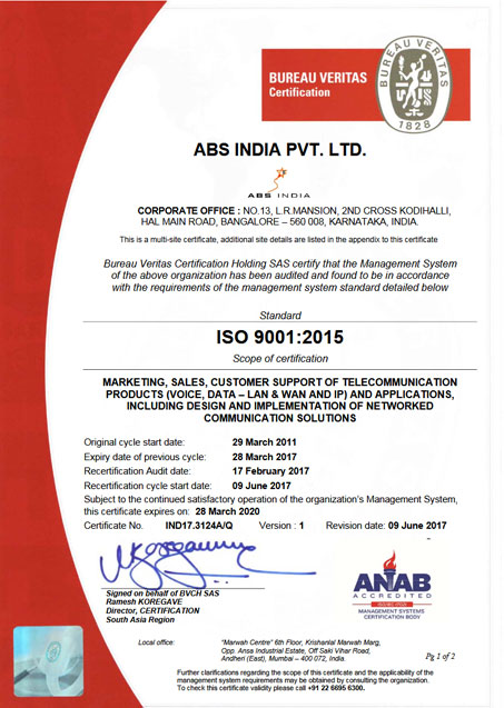 ABS India | ISO 9001 : 2008 certified | OHSAS 18001 : 2007